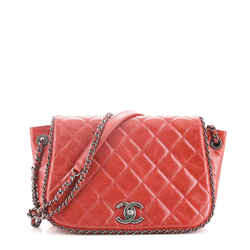 Chain Around Accordion Flap Bag Quilted Leather Small