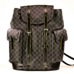 Damier Graphite Pm Canvas Green/grey Leather Backpack