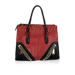 Miu Miu Red and Black Nappa Leather Biker Bag Tote Handbag