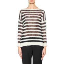 L NEW $985 SAINT LAURENT White Black Striped Mohair Bateau Neck SPRING SWEATER
