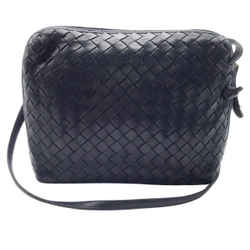 Bottega Veneta Navy Blue Woven Leather Crossbody Bag