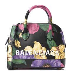 Balenciaga Ville Lush Floral Calfskin Leather XXS Top Handle Bag 550646