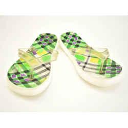 "Burberry: White, ""nova Check"" & Logo Flat Sandals/flip Flops Sz: 8.5m"