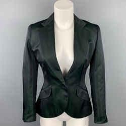 RALPH LAUREN Black Label Size 4 Dark Green & Black Silk / Acetate Jacket Blazer