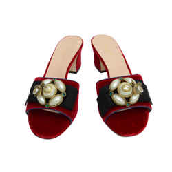 New Authentic Gucci Red Pumps Velvet Shoes Pearl Bee Women's 524675 K4d80 6456