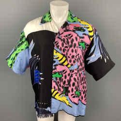 MARNI x BRUNO BOZZETTO Size M Multi-Color Print Silk Raw Edge Oversized Short Sleeve Shirt