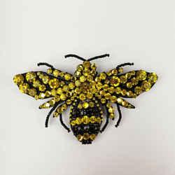 Gucci Yellow/black Crystal Bee Large Brooch 470639 8272 N