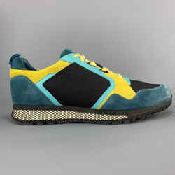 Gucci Size 11.5 Turquoise & Yellow Color Block Suede Icaro Sneakers