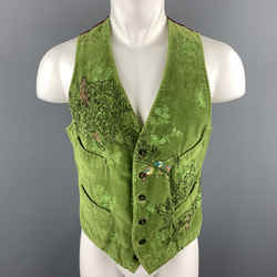 Paul Smith Size M Green Embroidery Cotton Velvet Buttoned Vest