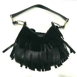 Yves Saint Laurent La Boheme Croute Velor Black Leather Suede Fringe Bag