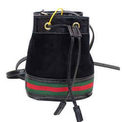 Gucci Ophidia Mini Textured Leather Trimmed Suede Bucket Bag Black 550620