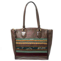 Etro Brown Paisley Print Coated Canvas Embroidered Tote