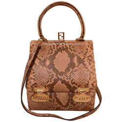 Fendi Natural Python Snakeskin Two-way Kelly Bolide Handbag