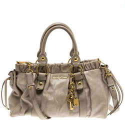 Miu Miu Beige Glazed Leather Luxe Ruched Top Handle Bag