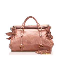 Vintage Authentic Miu Miu Brown Vitello Lux Bow Handbag France
