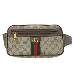 Auth Gucci Gucci Gg Supreme Offidia Sherry Waist Bag Body Brown 574796 Leather