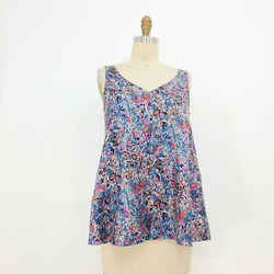 XS - Marc by Marc Jacobs Watercolor Floral Print Silk V-Neck Tank Top 0102SM