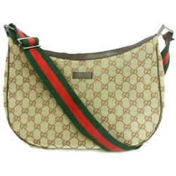 Authentic Gucci Sherry Line Gg Canvas Half Moon Crossbody Hobo Bag Italy 122790