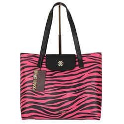 NEW $1,320 ROBERTO CAVALLI Pink & Black TIGER PRINT LEATHER Large LOGO TOTE BAG