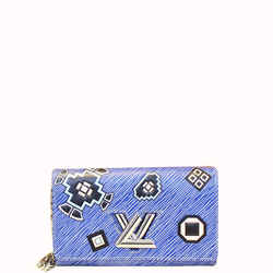 Louis Vuitton Twist Chain Denim Wallet Epi Azteque Stickers Crossbody Bag