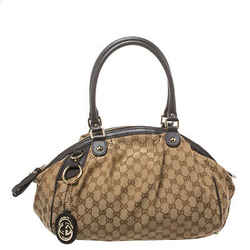 Gucci Beige/Brown GG Canvas and Leather Medium Sukey Boston