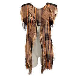 Alberta Ferretti Black and Orange Woven Vest