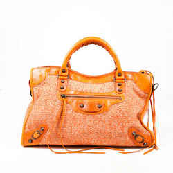 Balenciaga City Bag Orange Tweed Leather Satchel