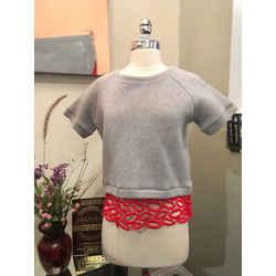 Msgm Sz 42 Gray Red Lace Lips Trim Cropped Sweatshirt Top - 3-310-91519