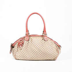 Gucci  Diamante Sukey Bag Medium Beige Canvas Pink Leather Tote