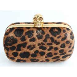 Alexander McQueen Leopard Print Calf Hair Skull Box Clutch