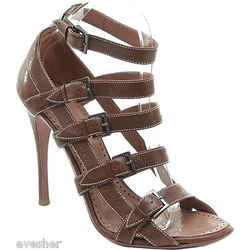 Alaia Brown Leather Gladiator Sandal Shoe Heel Open Toe White Buckle Straps 39.5