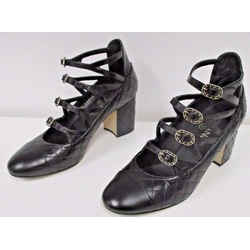 Chanel Black Leather Quilted Cuba Link Shoes W/ Decorative Gold Buckles - 38.5