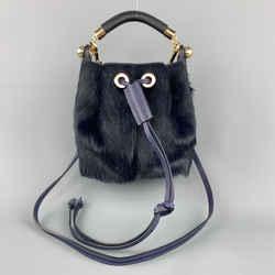 Chloe Navy Pony Hair Gala Bucket Handbag