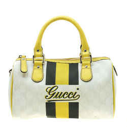 Gucci White/Yellow GG Supreme Canvas Small Web Joy Boston Bag