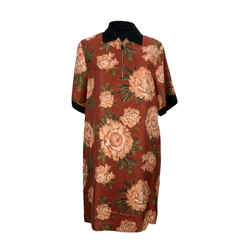 Salvatore Ferragamo Floral Silk and Cotton T-Shirt Dress Size 44 IT
