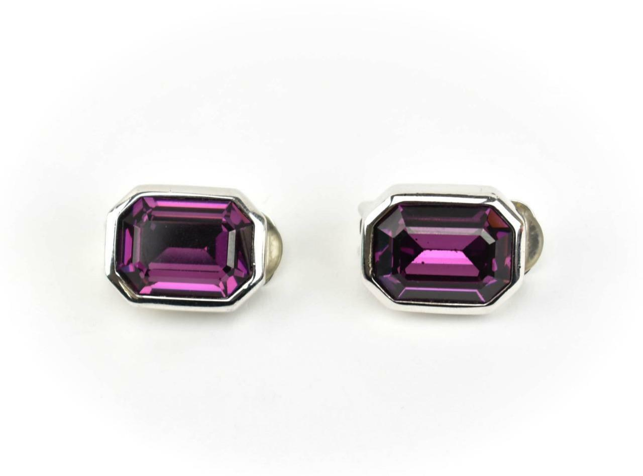 Christian Dior  Silver  Metal  U0026 Amethyst Earrings  Mo
