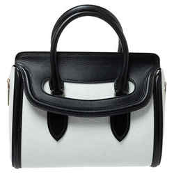 Alexander McQueen Black/White Leather Medium Heroine Satchel