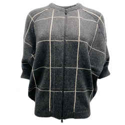 Brunello Cucinelli Short Sleeve Zip Up Grey and Cream Cashmere Sweater