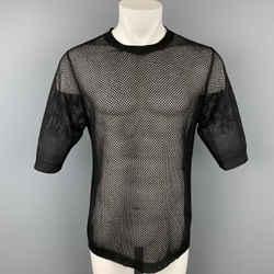 DRIES VAN NOTEN Size M Black Mesh Viscose Blend Short Sleeve T-shirt