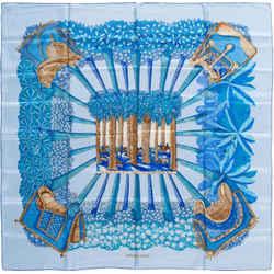 Hermes Hermes 90cm Blue, Teal & Gold Silk Scarf