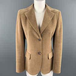 Akris Size 8 Tan Wool Blend Corduroy Blazer
