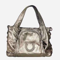 Salvatore Ferragamo Metallic Silver Leather Gancini Shoulder Bag