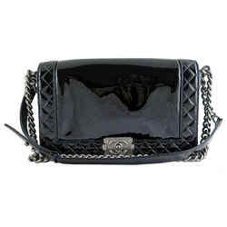 Chanel Boy Black Patent Medium Evening Flap Bag