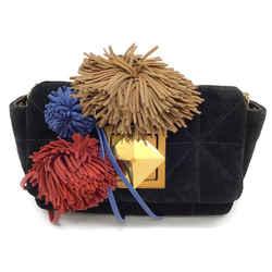 Sonia Rykiel Pom Pom Multi-color Suede Shoulder Bag