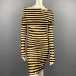 JEAN PAUL GAULTIER SS 2003 Size M Black & Taupe Polimide Turtleneck Striped Dress