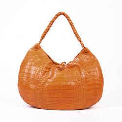 Nancy Gonzalez Orange Crocodile Hobo Bag