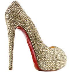 Christian Louboutin Peep Toe Pumps Yellow/gold Size 7.5 Authenticity Guaranteed