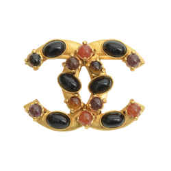 Authentic Chanel CC Logo Brooch GP Gemstone Pin Jewelry