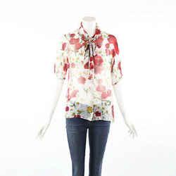 Dolce & Gabbana Multicolor Floral Print Sheer Silk Blouse SZ 44