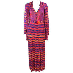 MISSONI Orange Purple Fuchsia Zig Zag Knit 4pc Ensemble Size 6